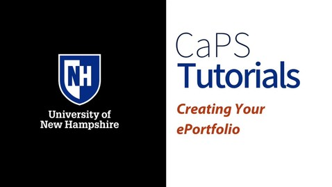 Thumbnail for entry Creating Your ePortfolio