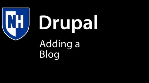 Thumbnail for entry Adding Blog