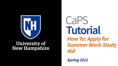 Thumbnail for entry How To: Apply for Summer Work-Study Aid