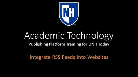 Thumbnail for entry Publishing Platform - RSS Feed Integration into Websites