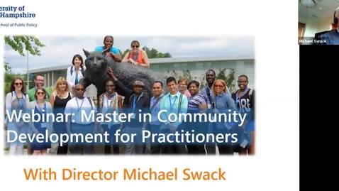 Thumbnail for entry Webinar: Master in Community Development with Program Director Michael Swack