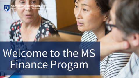 Thumbnail for entry Welcome to the MS Finance Program