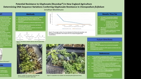 Thumbnail for entry Potential Resistance to Glyphosate (Roundup®) in New England Agriculture Determining DNA Sequence Variations Conferring Glyphosate Resistance in Chenopodium ficifolium, By Jonathan Moehlmann