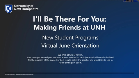 Thumbnail for entry **I'll Be There For You: Making Friends at UNH