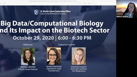 Thumbnail for entry Big Data/Computational Biology and Its Impact on The Biotech Sector
