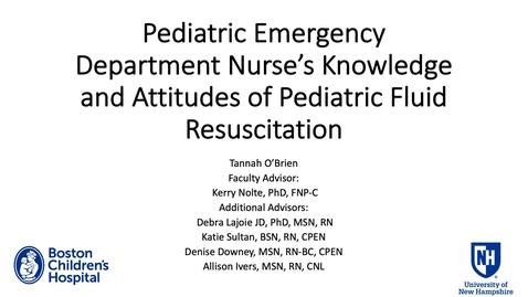 Thumbnail for entry Pediatric Emergency Department Nurse's Knowledge and Attitudes of Pediatric Fluid Resuscitation