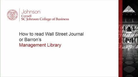 Thumbnail for entry How to read WSJ or Barrons