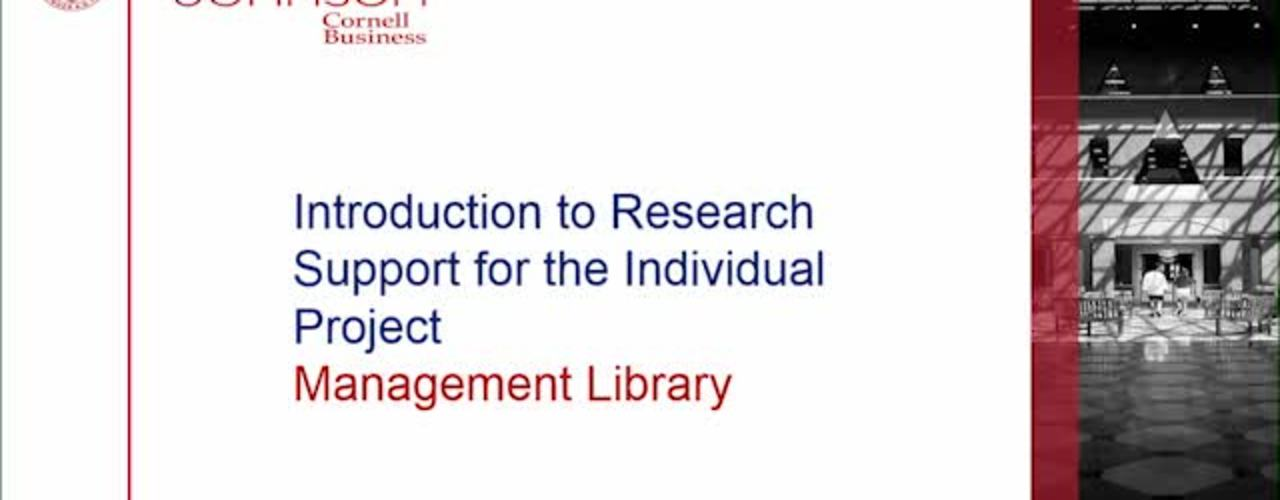 Introduction to Research Support for Individual Project Course