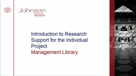 Thumbnail for entry Introduction to Research Support for Individual Project Course