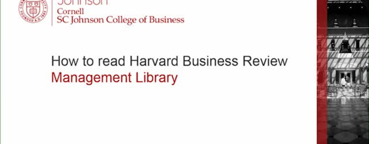 How to read Harvard Business Review