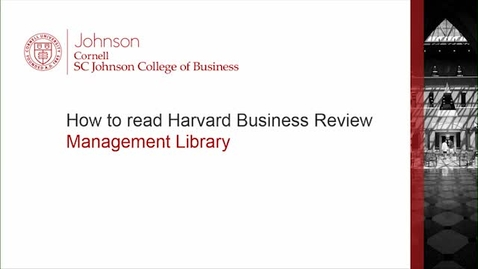 Thumbnail for entry How to read Harvard Business Review