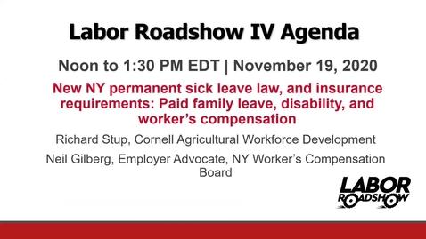 Thumbnail for entry Labor Roadshow IV: November 18, 19, 20, 23, 24, 2020