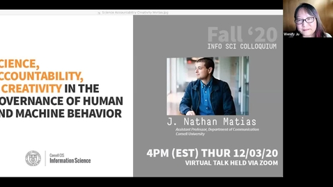 Thumbnail for entry Cornell IS Colloquium with Nathan Matias