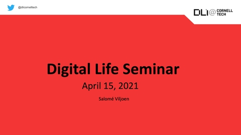 Thumbnail for entry Digital Life Seminar | Salomé Viljoen