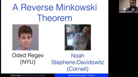 Thumbnail for entry 10.26.20 Theory Seminar - Fall 2020 Noah Stephens-Davidowitz, Cornell University