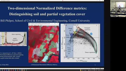 Thumbnail for entry CIDA Spring 2021 Seminar (reschedule)- Bill Philpot: Two-dimensional Normalized Difference metrics: Distinguishing soil and partial vegetation cover