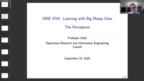Thumbnail for entry ORIE 4741 Lecture 9/10/2020