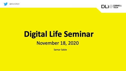 Thumbnail for entry Digital Life Seminar | Samar Sabie