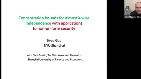 Thumbnail for entry 12/14 Theory Seminar - Fall 2020: Siyao Guo, NYU Shanghai