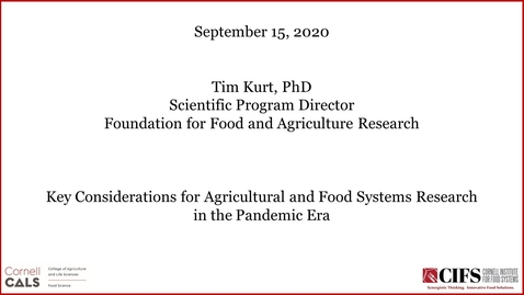 Thumbnail for entry The Dale E. Bauman Lecture - Timothy Kurt, DVM, Ph.D., - Key Considerations for Agricultural and Food Systems Research in the Pandemic Era