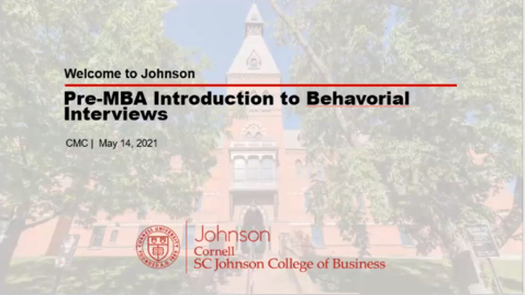 Thumbnail for entry Pre-MBA Introduction to Behavioral Interviews (PARs)
