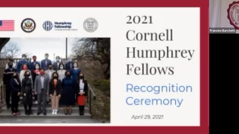 Thumbnail for entry Cornell Humphrey Fellows Graduation Ceremony