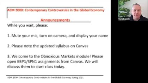 Thumbnail for entry AEM 2000 Contemporary Controversies in the Global Economy (2021SP) Lecture