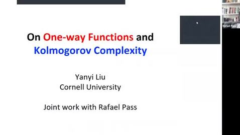 Thumbnail for entry 10.20 Theory Seminar - Fall 2020: Yanyi Liu, Cornell University