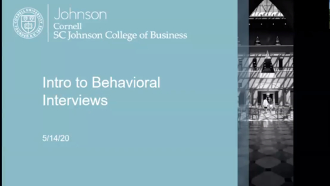 Thumbnail for entry Intro to Behavioral Interviews (PARS)