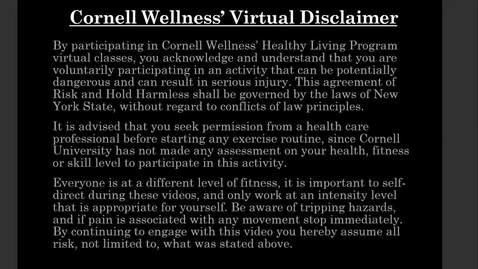Thumbnail for entry Cornell Wellness' Make It Happen Monday Episode 1