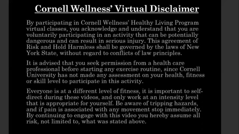 Thumbnail for entry Cornell Wellness Make It Happen Monday Episode 1