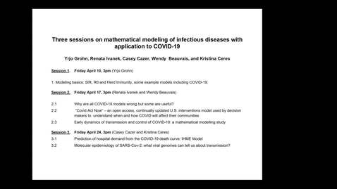 Thumbnail for entry Mathmatical Modeling Infectious Disease I