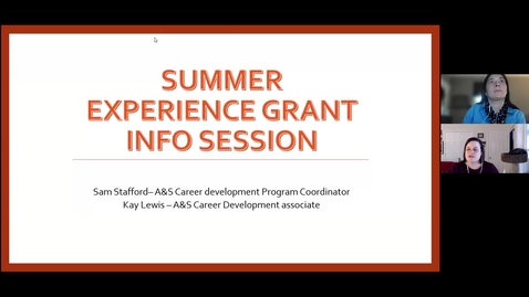 Thumbnail for entry Summer Experience Grant Info Session - March 24, 2021