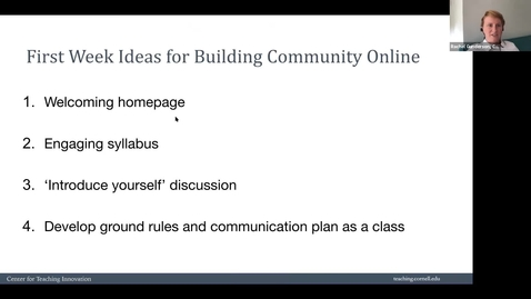 Thumbnail for entry Building Online Community in Week 1
