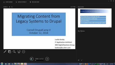 Thumbnail for entry DrupalCamp 2018: Migrating content from legacy systems to Drupal