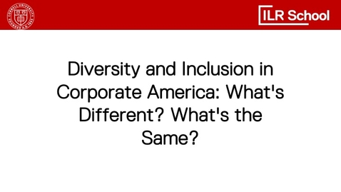 Thumbnail for entry Diversity and Inclusion in Corporate America: What's Different? What's the Same?