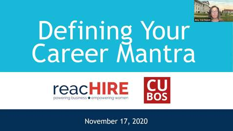 Thumbnail for entry CCOB Defining Your Career Mantra 11/17/2020