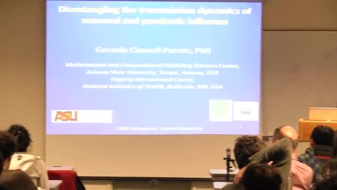 Thumbnail for entry CAM Colloquium, 2013-03-01 - Gerardo Chowell-Puente: Disentangling the Transmission Dynamics of Seasonal and Pandemic Influenza