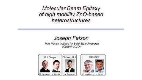 Thumbnail for entry Molecular Beam Epitaxy of High Mobility ZnO-based Heterostructures (Falson)
