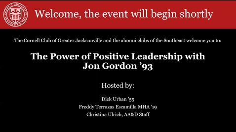 Thumbnail for entry The Power of Positive Leadership with Jon Gordon '93