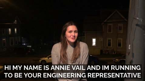 Thumbnail for entry Annie Vail - College of Engineering Representative Candidate (Fall 2020 Student Assembly Elections)