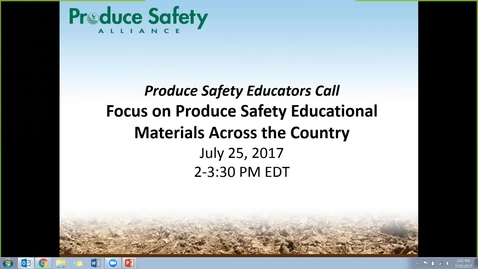 Thumbnail for entry #25 July 25, 2017: Produce Safety Educator's Call - 2
