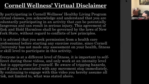 Thumbnail for entry Cornell Wellness Spring 2021 Virtual Bootcamp Class #2