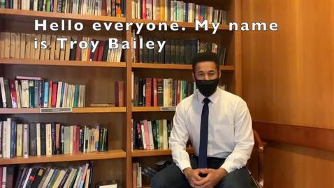 Thumbnail for entry Troy Bailey - Transfer Representative Candidate (Fall 2020 Student Assembly Elections)