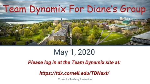 Thumbnail for entry Team Dynamix Training for Diane's Group: May 1, 2020 Take 2