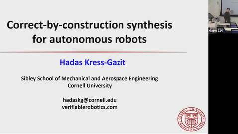 Thumbnail for entry Correct-by-Consturction Synthesis for Autonomous Robots - Hadas Kress-Gazit
