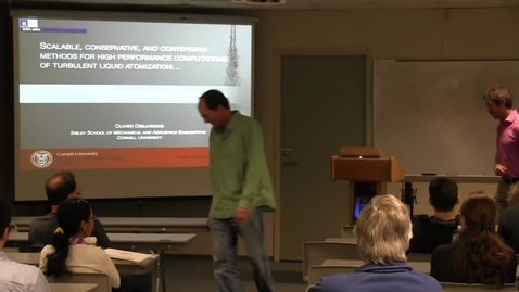 Thumbnail for entry CAM Colloquium, 2014-02-21 - Olivier Desjardins: Scalable, Conservative, and Converging Methods for High Performance Computations of Turbulent Liquid Atomization...or How to Efficiently Solve discontinuous PDEs
