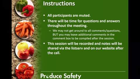 Thumbnail for entry Produce Safety Educator's Call #28