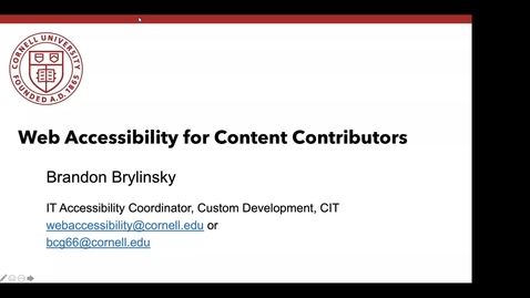 Thumbnail for entry Web Accessibility for Content Contributors