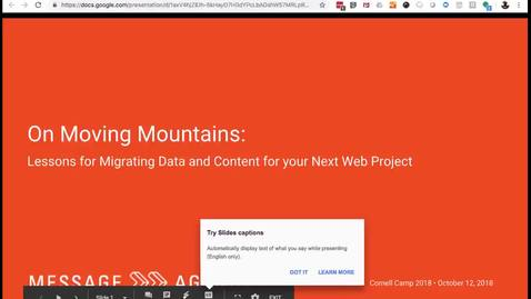 Thumbnail for entry DrupalCamp 2018: On Moving Mountains:  Lessons for Migrating Data and Content for Your Next Drupal Project